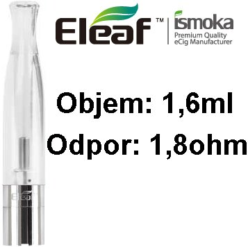 iSmoka-Eleaf BCC-CT clearomizer 1,6ml 1,8ohm Clear