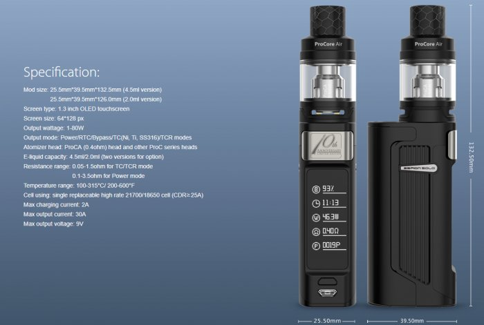 Joyetech ESPION Solo 80W Grip Full Kit 4000mAh Gun Metal